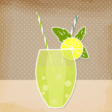 Cocktail lemon lime background. Glass of drink with tubule. Retr Royalty Free Stock Photo