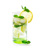 Cocktail with lemon and mint Royalty Free Stock Images
