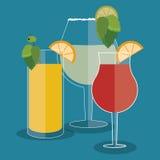Cocktail lemon orange leaf glass summer alcohol icon. Vector gra Royalty Free Stock Photo