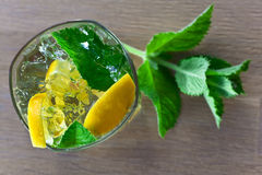 Cocktail with lemon and peppermint Stock Images
