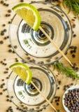 Cocktail with lemon slice Stock Photo