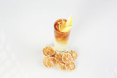 Cocktail with lemon. In studio Royalty Free Stock Photo