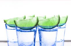 Cocktail with lime. Alcoholic beverage. tequila. A refreshing tonic. Close up Stock Photos