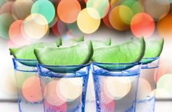 Cocktail with lime. Alcoholic beverage. tequila. A refreshing tonic. Close up Royalty Free Stock Photos