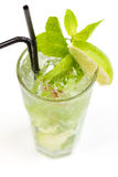 Cocktail with lime. Clear cocktail with ice and lime Royalty Free Stock Photos