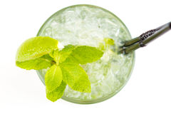 Cocktail with lime. Clear cocktail with ice and lime Stock Photos