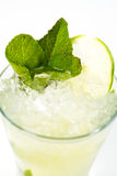 Cocktail with lime. Clear cocktail with ice and lime Stock Images