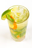 Cocktail with lime. Clear cocktail with ice and lime Royalty Free Stock Photography