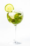 Cocktail with lime. Clear cocktail with ice and lime Stock Photo