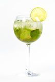 Cocktail with lime. Clear cocktail with ice and lime Stock Image