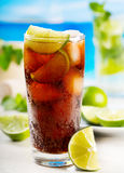 Cocktail with lime and Cola Stock Image