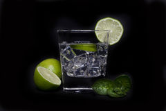 Cocktail with lime and ice Stock Image