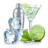 Cocktail. With lime, ice, mint, and shaker isolated on white background stock images