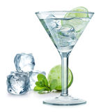Cocktail. With lime, ice, mint, and shaker isolated on white background royalty free stock image