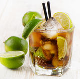 Cocktail with lime Royalty Free Stock Photo