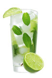 Cocktail with lime and mint Stock Photos