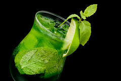 Cocktail with lime and mint closeup Stock Image
