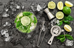 Cocktail lime mint and ice. Bar alcoholic nonalcoholic drink Stock Images