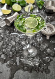 Cocktail with lime, mint, ice. Bar drink accessories Stock Images