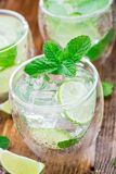 Cocktail with lime and mint Royalty Free Stock Photo
