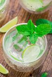 Cocktail with lime and mint Stock Photography