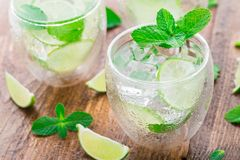Cocktail with lime and mint Royalty Free Stock Image