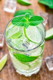 Cocktail with lime and mint Royalty Free Stock Photography