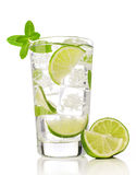 Cocktail with lime and mint Stock Photo