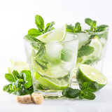 Cocktail with lime and mint on a white. Mojito cocktail with lime and mint on a white background Royalty Free Stock Images