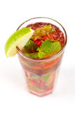 Cocktail with lime. Red cocktail with ice and lime Stock Photography
