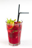 Cocktail with lime. Red cocktail with ice and lime Royalty Free Stock Photo