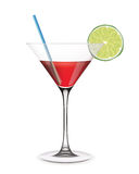Cocktail with lime and straw. Royalty Free Stock Photos