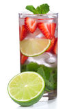 Cocktail with lime, strawberry and mint Royalty Free Stock Photography