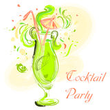 Cocktail with lime and umbrella. Vintage hand drawn vector illustration. Cocktail party design, Stock Images
