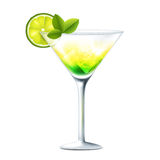 Cocktail with lime Royalty Free Stock Photography