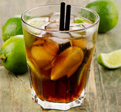 Cocktail with lime Royalty Free Stock Images