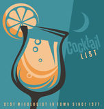 Cocktail list cover document template royalty free illustration