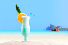 Cocktail and Long tailed boat in Thailand Royalty Free Stock Image