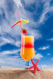 Cocktail and Long tailed boat in Thailand Royalty Free Stock Photo