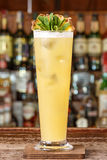 Cocktail lot of ice garnished with pineapple royalty free stock photo