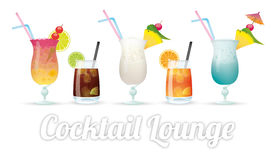 Cocktail Lounge. Kinds of cocktails with text Cocktail Lounge Stock Image