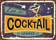 Cocktail lounge retro sign design. With martini glass and creative typo Stock Images