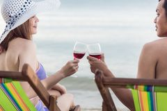 Cocktail luxuoso da bebida do abrandamento do curso dos pares na cadeira tropical Foto de Stock Royalty Free