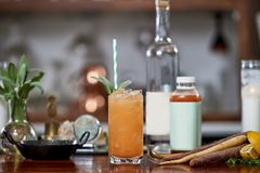 A cocktail made with fruit juice stock image