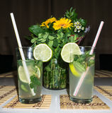 Cocktail mahito drink details image Stock Photo
