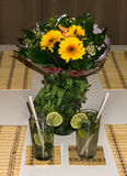 Cocktail mahito drink party sunflower Royalty Free Stock Images