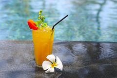 Cocktail Mai Tai with Light rum, dark rum, Orange Curacao, almond syrup, lime, ice cubes, pineapple and mint royalty free stock photography