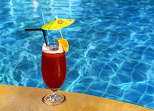 Cocktail Mai Tai near pool Royalty Free Stock Images