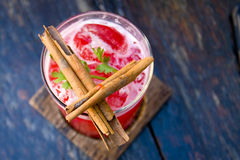 Cocktail mai tai red punch liquor on wood Stock Photography