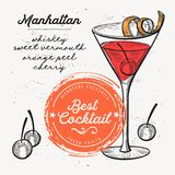 Cocktail manhattan drink flyer for bar. Cocktail manhattan for bar menu. Vector drink flyer for restaurant and cafe. Design poster with vintage hand-drawn Stock Images